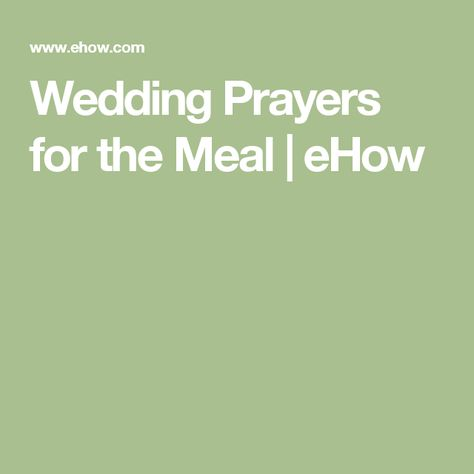 Wedding Prayers for the Meal
