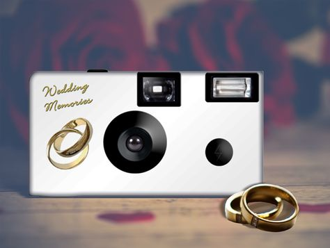 Gold 'Coupled Rings' camera can be PERSONALIZED for you special day. This listing is for 15 cameras and 15 tent cards.   24 exposure, Fuji high speed 35mm color film, disposable camera. Features built in one-touch power flash. Recycled cameras with fresh film and battery.   #camera #weddingcamera #disposablecamera #rings #goldrings #coupledrings #singleuse #35mm #film  #weddingfavor #pictures #personalized #Etsy