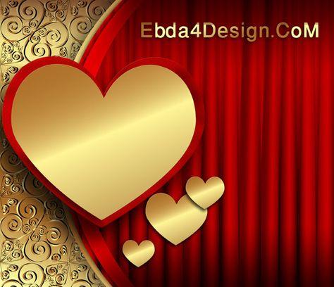 تحميل تصميم خلفيه قلوب ذهبيه مفتوح Psd للفوتوشوب Psd Background