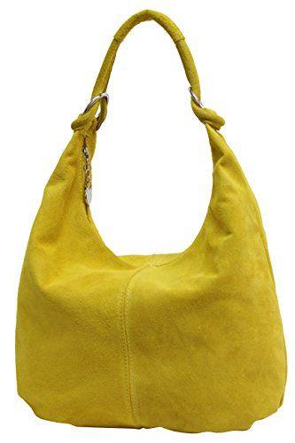 7d20fa1af8c4d AMBRA Moda Damen Wildleder Schultertasch Damen Handtasche Hobo-Bags Shopper  Beuteltaschen Veloursleder Suede Ledertasche DIN-A4 42cm x 35cmx 4cm WL803  ...