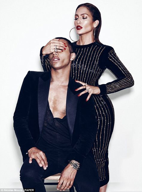 RAWR la lopez // Jennifer Lopez poses with Balmain creative director Olivier Rousteing … Paper Magazine
