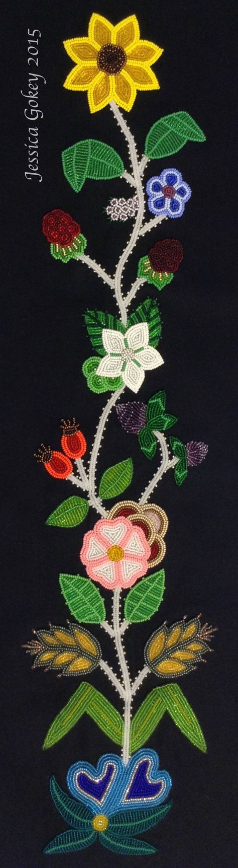 1st panel for MNHS piece, designed and beaded by Jessica Gokey 2015. Beaded on black wool broadcloth, measures 24 in by 5 in.