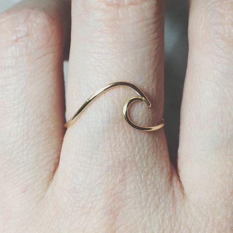 bijoux en argent sterling vague anneau/or rempli/surf/ocean wave bague/océan bague/argent vague anneau/or vague vague anneau/surfer/fil bague/plage