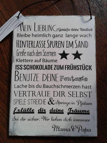 Schild Mein Liebling von Paulines handmade auf DaWanda.com