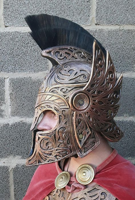 Antique warrior armor set LARP Cuirass Bracers Helmet