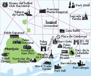 Gaudi birds eye aerial 3d main buildings location view Barcelona top ...