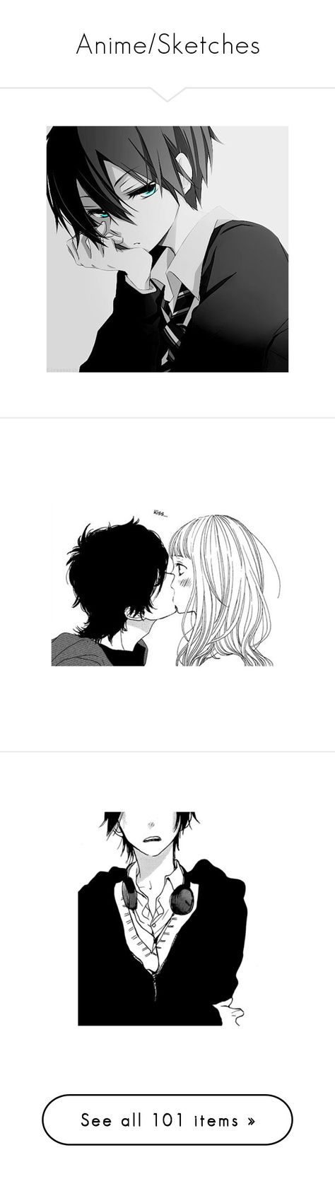 """""""Anime/Sketches"""" by wherewereyou ❤ liked on Polyvore featuring anime, manga, couples, drawings, fillers, doodle, scribble, monochrome, anime boy and vocaloid"""