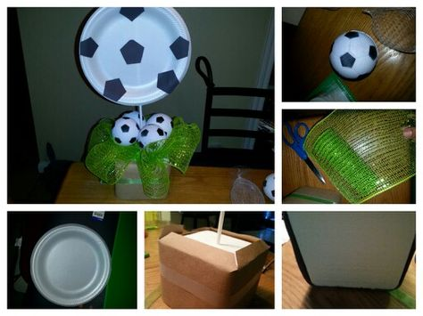 Soccer Party Decorations Used A Paper Plate Dollar Store Soccer Balls Black Cardboard And R Soccer Party Decorations Sports Themed Party Soccer Centerpieces