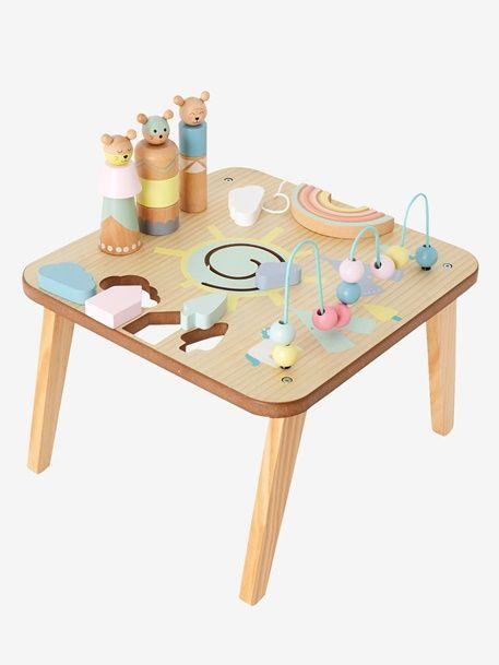 Table D Activites Petits Sioux Bleu Vertbaudet Cadeau Bebe 1 An Jouets En Bois Pour Enfants Idee Cadeau 1 An