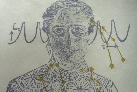 Astronomer Henrietta Swan Leavitt Print, Lino Block Print Portrait, Woman in STEM