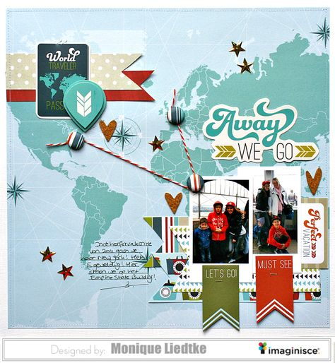 Away we go - Imaginisce - Scrapbook.com - Use map paper and brads to document your travels on a layout.