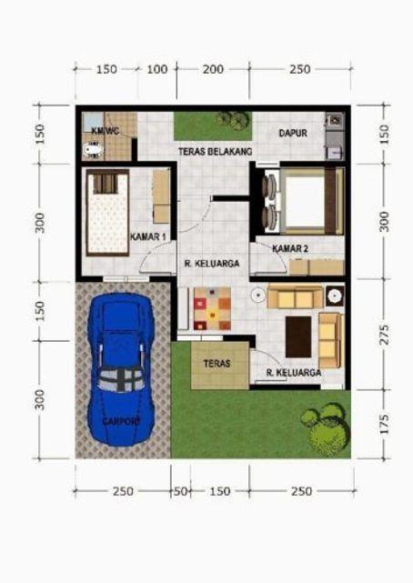 Denah Rumah Tipe 45 Mungil Dapur Dan Kamar Mandi Denah Rumah Desain Rumah Rumah Minimalis