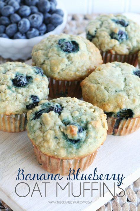 Banana Blueberry Oat Muffins - thecraftedsparrow.com