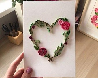 Quilling card Quilled heart Wedding Anniversary gift | Etsy