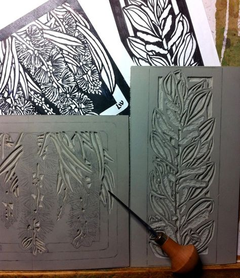 Excellent website for linocuts, excellent images of steps this artist takes to create wonderful images