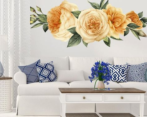 65ede4b29a1 Large Peony Wall Decal set of 6 - Flower Wall Decals - Peel and ...