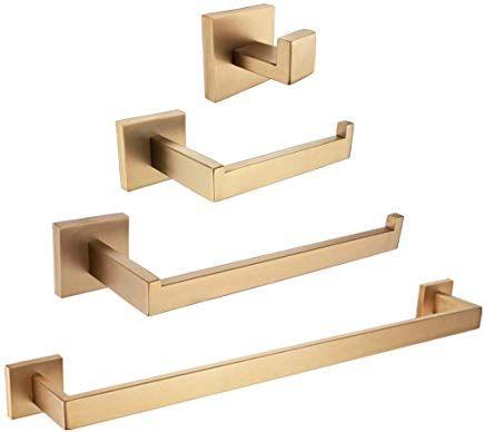 Womao Geburstet Gold Finished Badezimmer Accessoires Set 4 Stucke Handtuchhaken Handtuchring To Badezimmer Accessoires Set Handtuchstange Toilettenpapierhalter