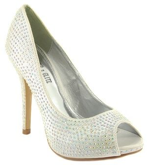 a453026b4489 Ladies Ivory satin high heel diamante evening  wedding shoes NEW   Amazon.co.uk  Shoes   Accessories