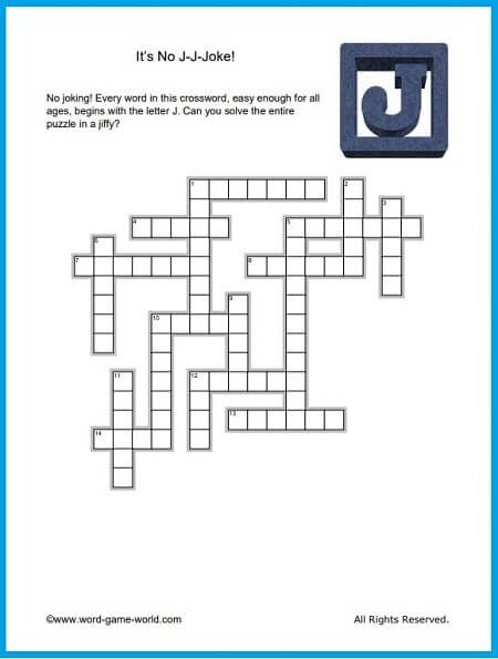 Fun Crosswords No J J Joke Printable Word Games Crossword Jokes