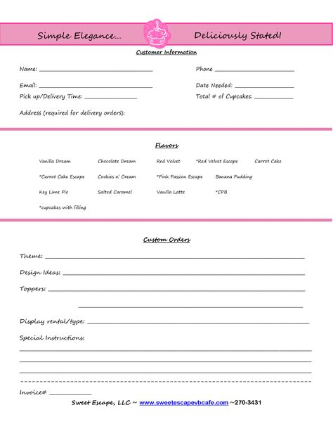 Cake Order Form Templates Free  Cupcakes    Order Form