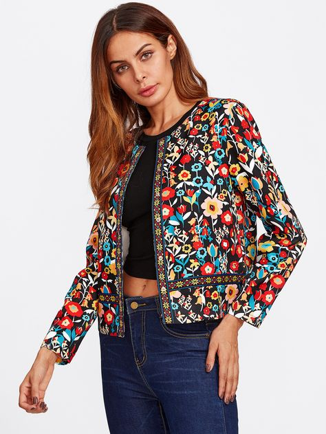 Material: Polyester Color: Multi Color Pattern Type: Floral Collar: Collarless Style: Elegant, Boho Placket: Single Breasted Length: Short Season: Spring, Fall Fabric: Fabric has no stretch Shoulder(Cm): Bust(Cm): Sleeve Length(Cm):