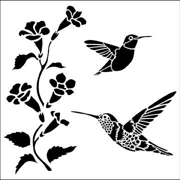 Hummingbirds 6x6 Crafters Workshop Stencil (519S) - For cookies, cake, cardmaking, mixed media, paper-arts, chalking, scrapbooks