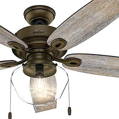 Hunter Fan 52 Inch Outdoor Ceiling Fan Includes Led Globe Light