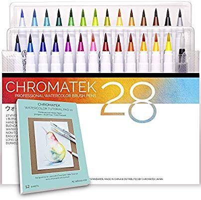 Amazon Com 28 Watercolor Brush Pens Tutorial Pad Video Series