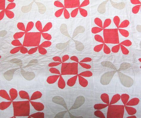 Antique Quilt with Applique Designs Applique, Etsy, RiverHouseDesigns