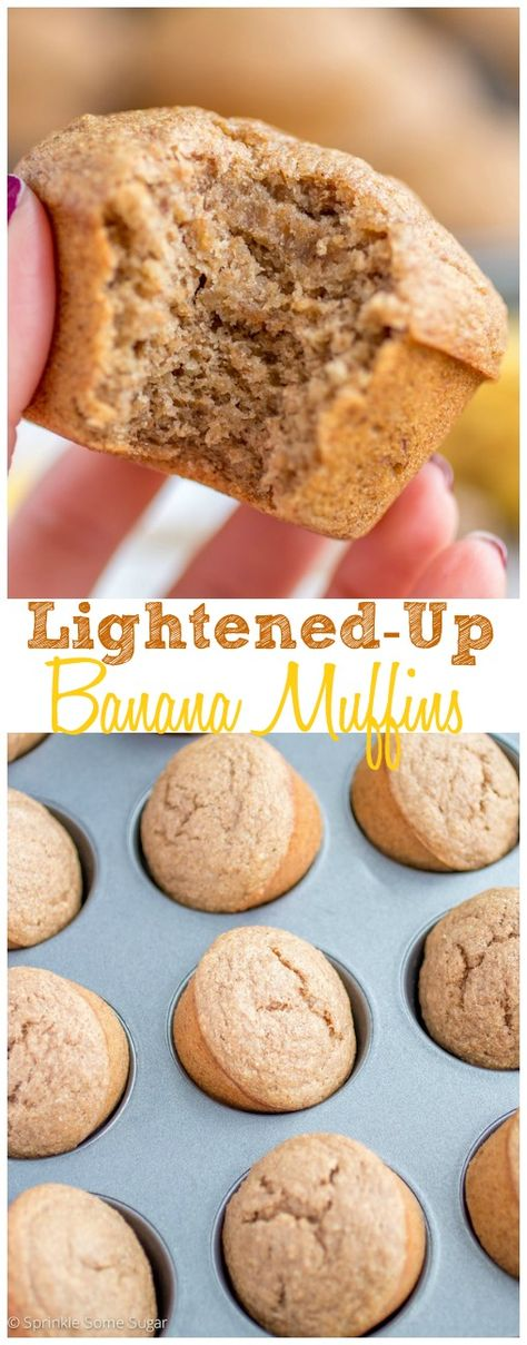 Lightened-Up Banana Muffins. They're super moist and loaded with so much great flavor. My favorite muffins!