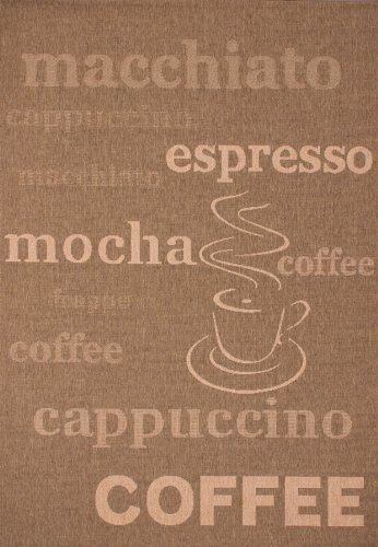 Lalee 347180462 Teppich Sisal Optik Flach Kche Muster Kaffee Bistro