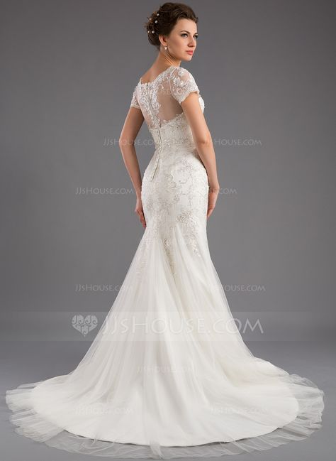 3ee20a33d000 Trumpet/Mermaid Scoop Neck Court Train Tulle Wedding Dress With Lace  Sequins (002035871) - JJsHouse