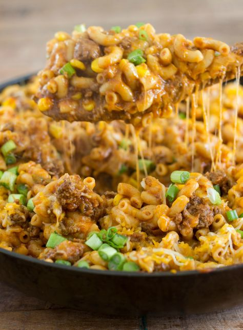 One Pot Cheesy Taco Pasta - One skillet cheesy taco pasta - under 30 minutes and a crowd pleasing meal!