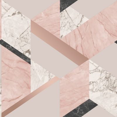 Marblesque Geometric Marble Wallpaper Blush Pink And Rose Gold