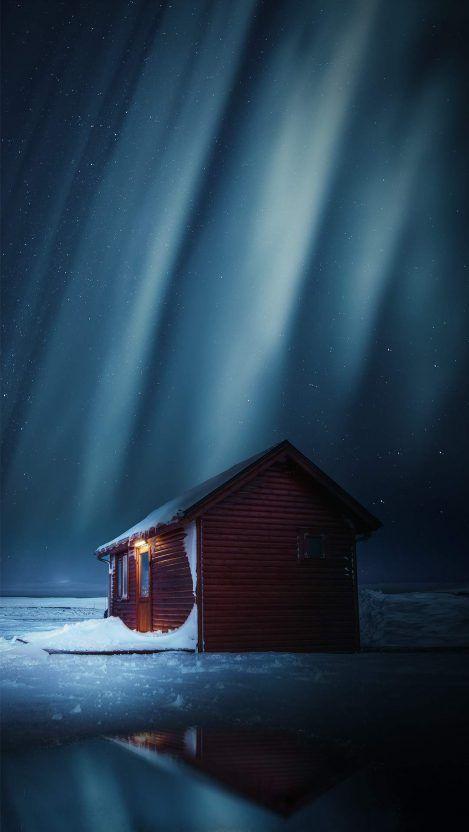 Winter Cabin Northern Lights Iphone Wallpaper Iphone Wallpaper Winter Winter Cabin Iphone Wallpaper
