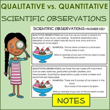 Scientific Observation Qualitative Vs Quantitative Notes Activity Sort Science Teaching Resources Science Skills Physical Science Lessons