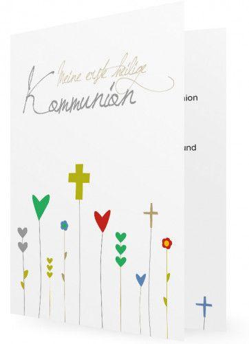 Kommunion Einladung Vorlage Kreuze Als Blumen Einladungskarten Kommunion Einladung Kommunion Kommunionseinladung