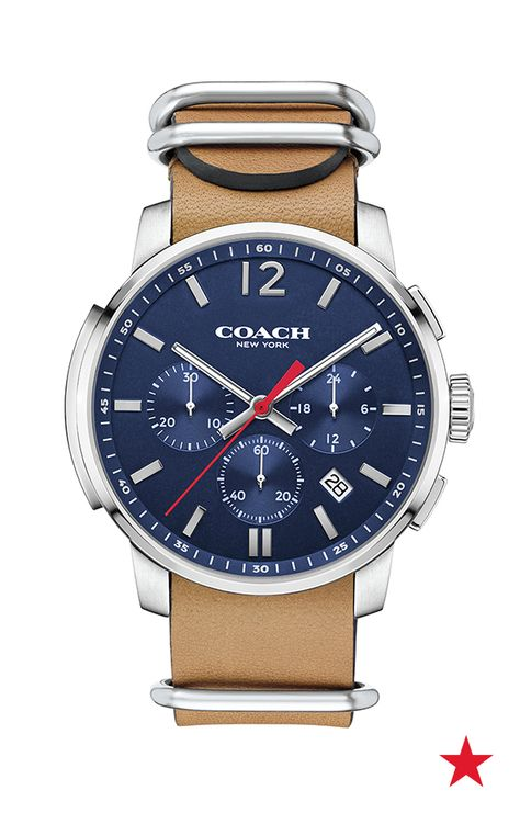 83f230f18 The COACH Bleeker Chrono watch has such a cool design! Those stainless  steel loops with that navy and tan colorway are sure to catch a few jealous  stares ...