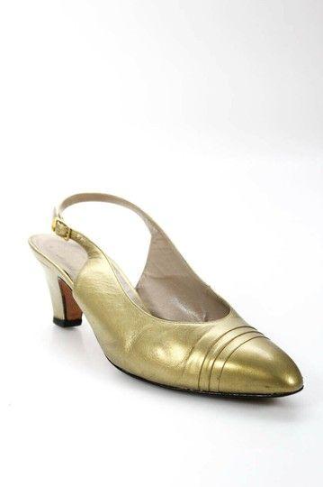 Salvatore Ferragamo Gold Leather Closed Toe Slingback Style Kitten Heels Pumps Size Us 8 5 Wide C D Kitten Heel Pumps Pumps Heels Kitten Heels
