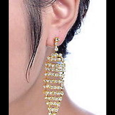 Rhinestone Beautiful Drop Earrings Formal Event Gold Totally Encrusted In Adorn These Great For Prom Or Weddings