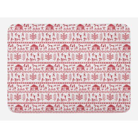 Red And White Bath Mat Native Primitive Art With Tribal People