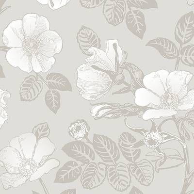 Mullen Peony Peel And Stick Wallpaper Panel Grey Floral Wallpaper Peony Wallpaper Wallpaper