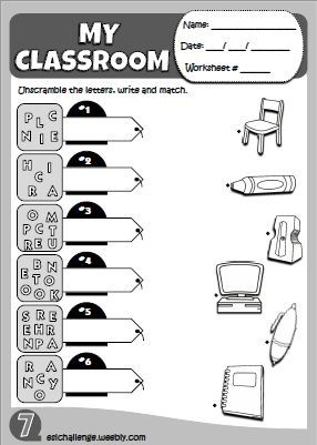 Classroom Objects Worksheet Eslchallenge Weeb Weebly Website Help You Desi English Activities For Kids English Teaching Resources English Lessons For Kids