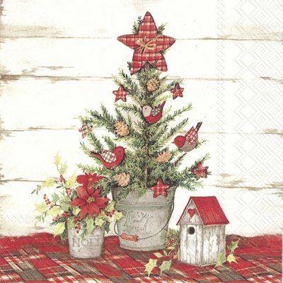 Christmas Time Themed Serviettes 4 Decoupage Napkins Christmas Tree 13 inch
