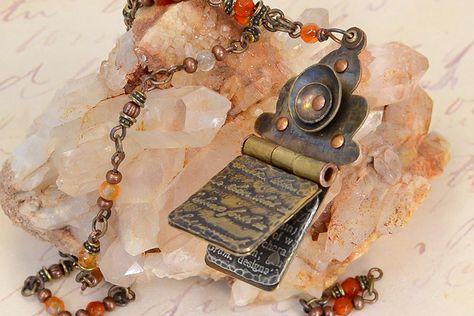 Hinged Pendant Memory Journal created by Sondra Barrington of Rings & Things. This free DIY jewelry project features metal etching, metal st...