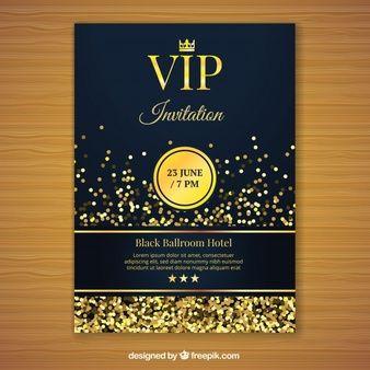 Plantilla De Invitación Vip Dorada Invitacion Cumpleaños