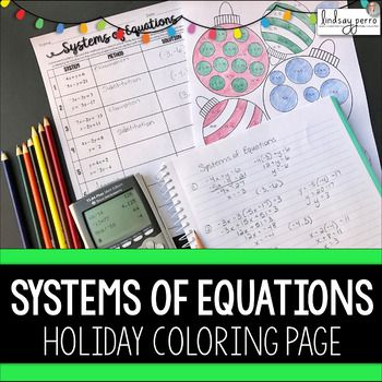 Systems Of Equations Christmas Coloring Worksheet Systems Of
