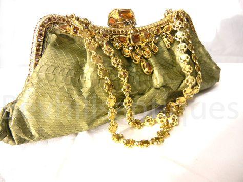 BESSO GOLD GREEN VINTAGE SNAKESKIN LUXURY ITALIAN CLUTCH SHOULDER BAG