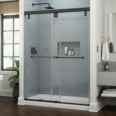 Delta Everly 60 In X 71 1 2 In Frameless Mod Soft Close Sliding Shower Door In Matte Black With 3 8 In 10 Mm Clear Glass Sd4511011 Shower Doors Custom Shower Doors Shower Door Handles