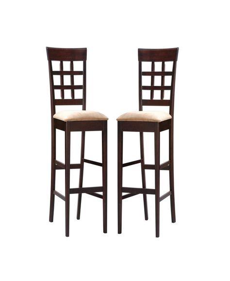Ali Upholstered 29 Bar Stools Set Of 2 Open Brown Bar